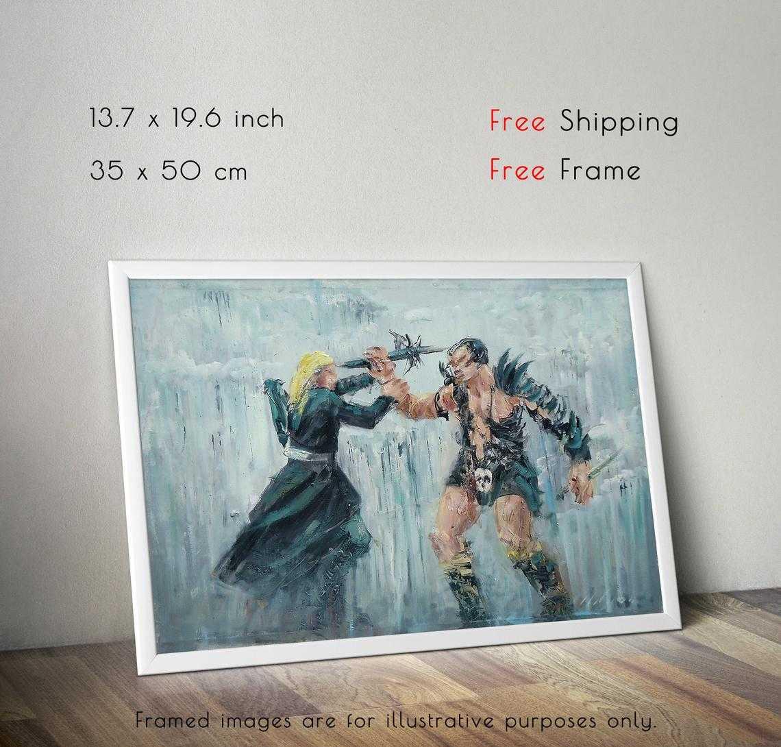 Legolas vs Bolg, Hobbit Themed Oil Painting - GaleriFoton
